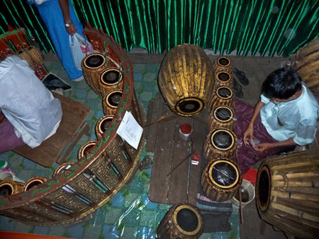A traditional Burmese orchestra at Mintha Theater in Mandalay, Myanmar.
