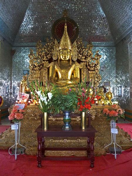 The Buddha image inside Sandamuni Pagoda in Mandalay, Myanmar.
