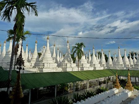 Just one part of the massive stupa field at Sandamuni Pagoda in Mandalay, Myanmar.
