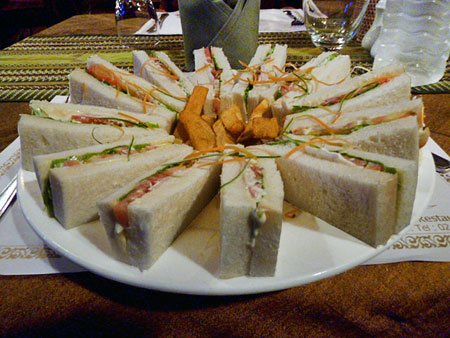 A veggie sandwich wheel and exactly eight French fries at BBB Cafe in Mandalay, Myanmar.