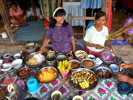 Burmese food for sale at the nat pwe in Taungbyone, Myanmar.