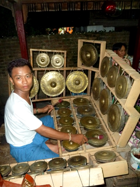 Gongs galore at the nat pwe in Taungbyone, Myanmar.