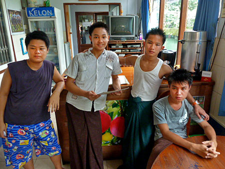 The kids who run the cafe at the Motherland II Inn in Yangon, Myanmar.