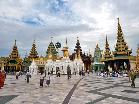 This is just a small area of Shwedagon Pagoda in Yangon, Myanmar.