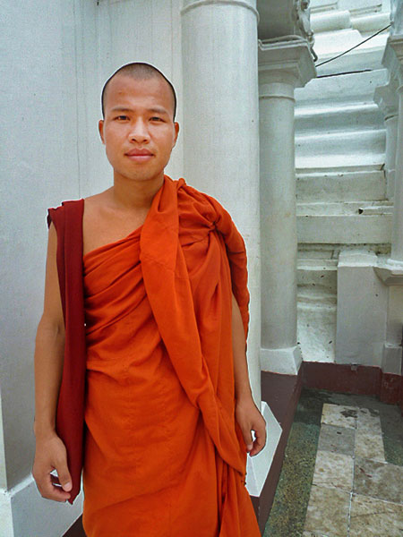 A young Buddhist monk named Ashin Varasiha approached me for a chat at Shwedagon Pagoda in Yangon, Myanmar.