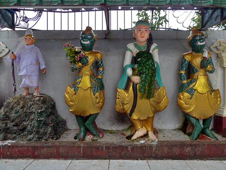 Some fruitful characters at Shwedagon Pagoda in Yangon, Myanmar.