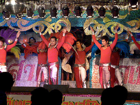 A flamboyant dance routine in at a ladyboy cabaret in Bangkok, Thailand.