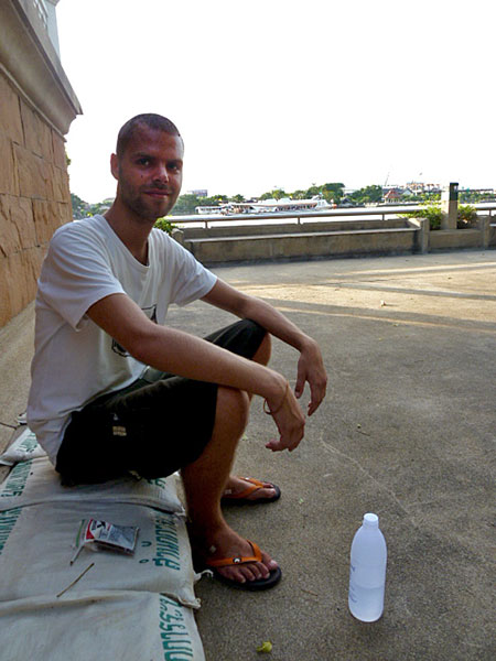 A German fellow who befriended me in Santichaiprakarn Park on the Chao Phraya river in Bangkok, Thailand.