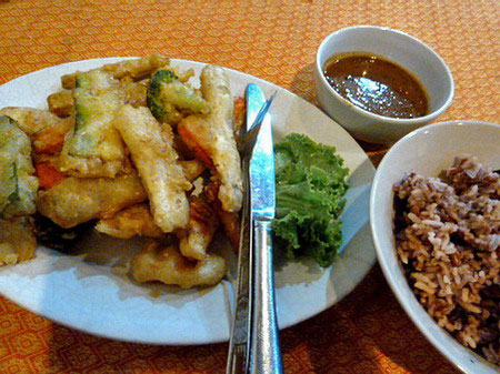 A plate of deliciously battered vegetables at May Kaidee's in Banglamphu, Bangkok, Thailand.