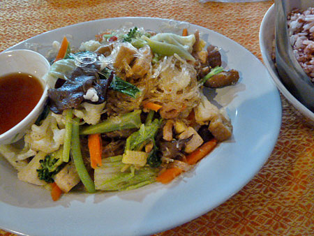 Shitake mushrooms and glass noodles for lunch at May Kaidee's in Banglamphu, Bangkok, Thailand.