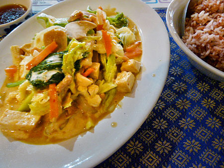 I think my mouth just came. Yellow curry at May Kaidee's in Banglamphu, Bangkok, Thailand.