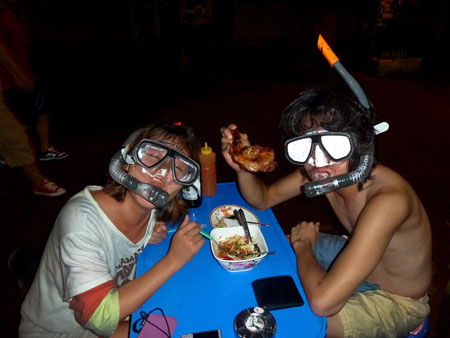 Crazy snorkelers from South Korea in Banglamphu, Bangkok, Thailand.