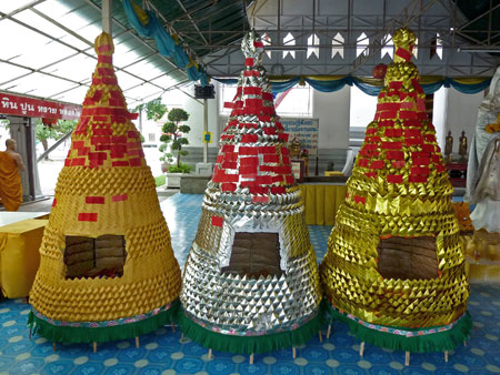 Three little igloos at Wat Kanlayanamit in Bangkok, Thailand.