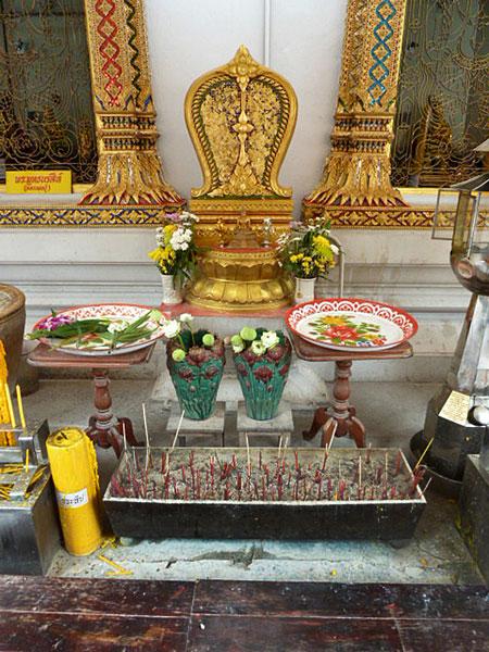 A small shrine at Wat Chana Songkhram in Banglamphu, Bangkok, Thailand.