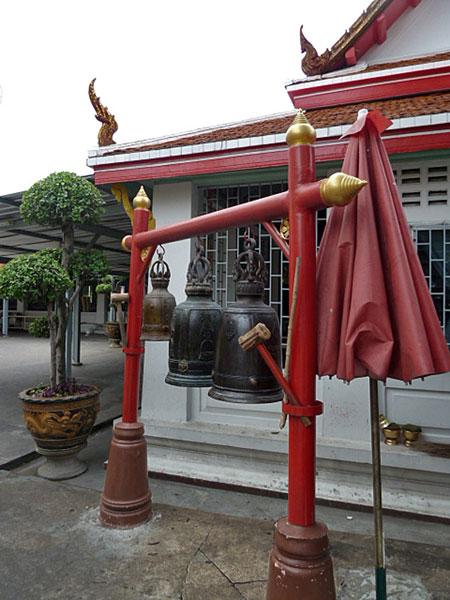 A set of three bells at Wat Chana Songkhram in Banglamphu, Bangkok, Thailand.