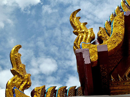 Roof detail on the Temple of the Emerald Buddha in Bangkok, Thailand.