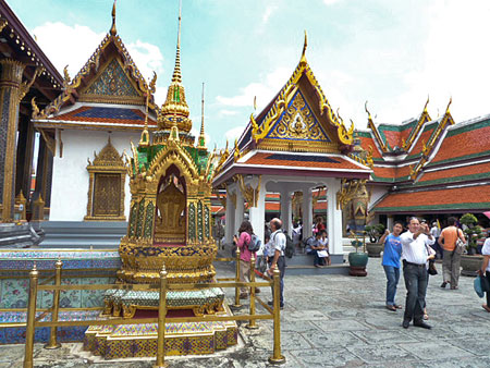 Overview of a small part of the Temple of the Emerald Buddha compound in Bangkok, Thailand.