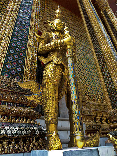 More gold than you can shake a Rolex at. Temple of the Emerald Buddha in Bangkok, Thailand.