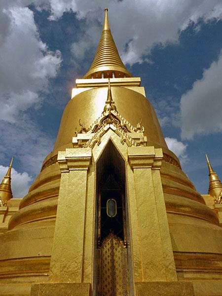 The Phra Siratana Chedi at the Temple of the Emerald Buddha in Bangkok, Thailand.