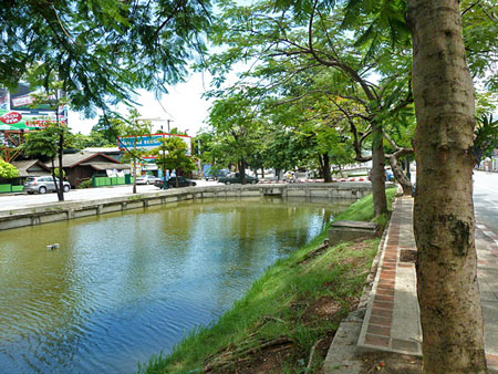 Another view of the moat around the Old Town section of Chiang Mai, Thailand.