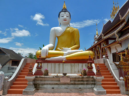 The big Buddha at Mornthean Temple in Chiang Mai, Thailand.