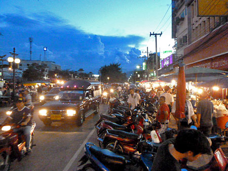 There's no shortage of traffic around the moat in Chiang Mai, Thailand.