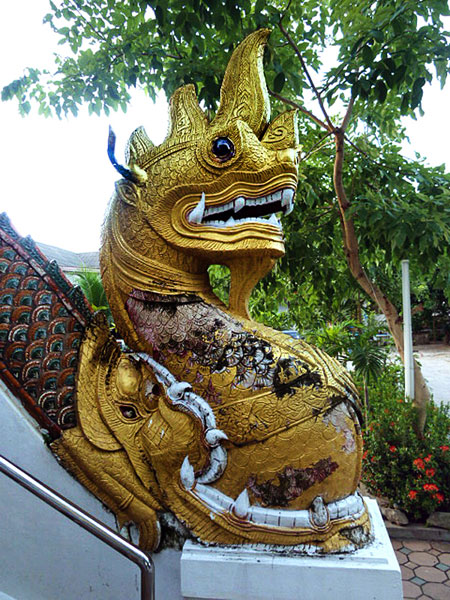 The Golden Dragon of Remote Possibilities mugs it up at Wat Thung Yu Temple in Chiang Mai, Thailand.