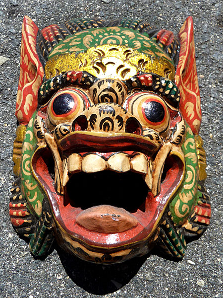 A carved wooden mask from Bali that I bought in Banglamphu, Bangkok, Thailand.