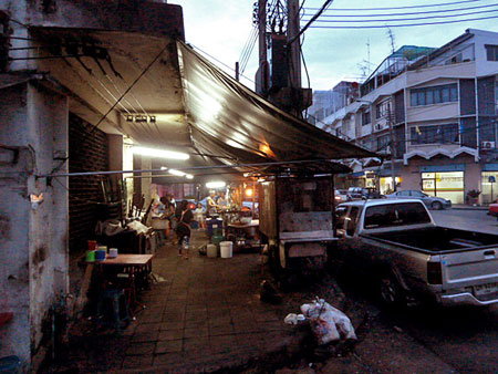 Food stall darkness in Bangkok, Thailand.