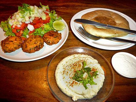 A falafel and hummus dinner at Ethos in Banglamphu, Bangkok, Thailand.
