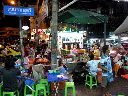 A hectic night on Thanon Rambhuttri in Banglamphu, Bangkok, Thailand.