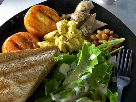 A delightful salad / sandwich combo in Banglamphu, Bangkok, Thailand.