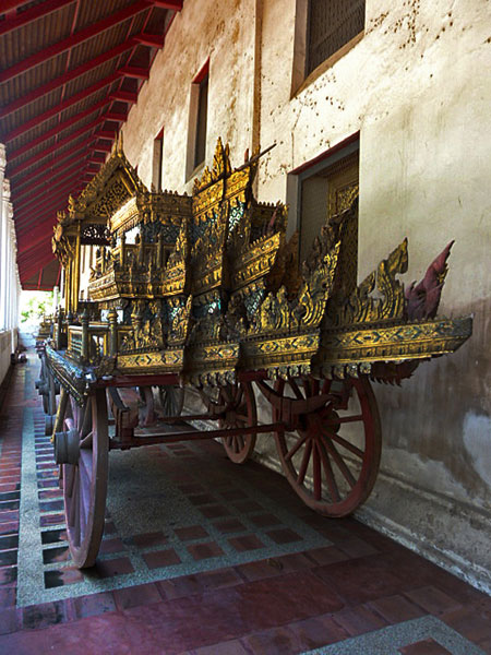 A Thai royal carriage outside the National Museum in Bangkok, Thailand.