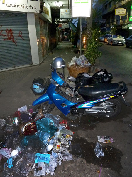 A typical trash explosion in Bangkok, Thailand.