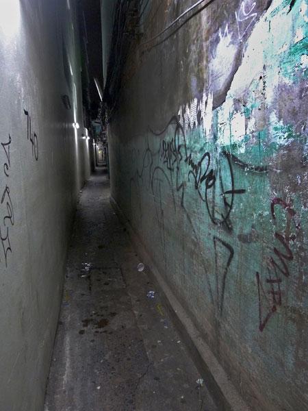 Claustrophobic? Get crushed between two walls in Banglamphu, Bangkok, Thailand.