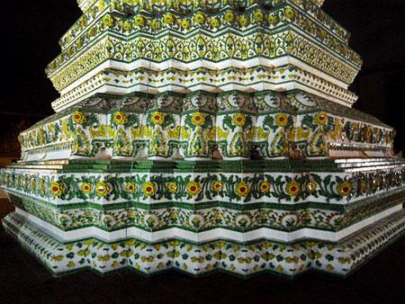 Base detail at Wat Ratchaburana Ratchaworawiharn in Bangkok, Thailand.