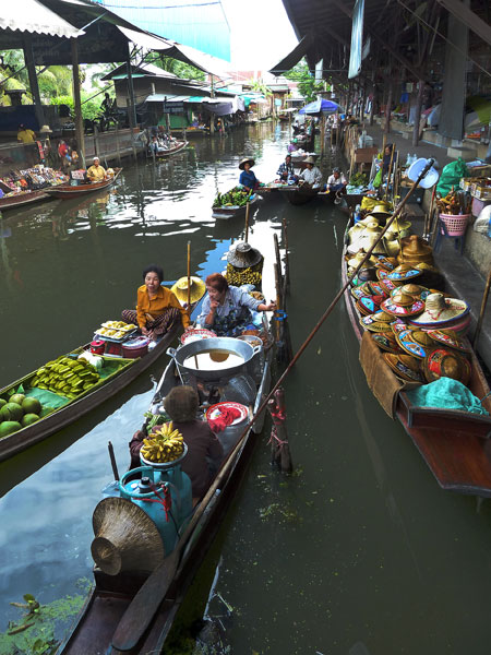 A view down one of the canals at the floating market in Damnoen Saduak, Thailand.