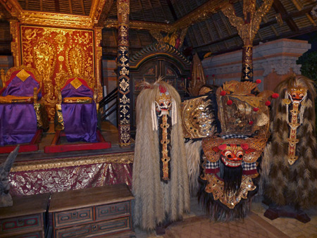 A behind-the-scenes look at Barong and Rangda at Ubud Palace in Ubud, Bali, Indonesia.