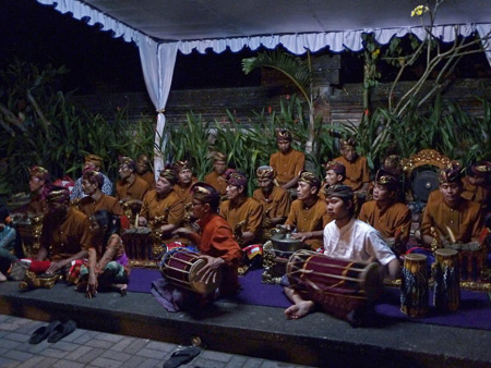 A gamelan jams the night before the royal cremation ceremony at Ubud Palace in Ubud, Bali, Indonesia.