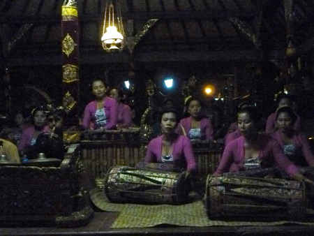 Another gamelan jams the night before the royal cremation ceremony at Ubud Palace in Ubud, Bali, Indonesia.