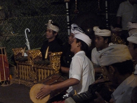 Gamelan at a Hindu temple ceremony in Bangli, Bali, Indonesia.