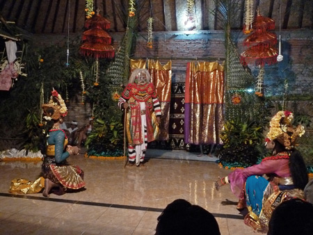 A Calon Arang performance at a Hindu temple ceremony in Bangli, Bali, Indonesia.