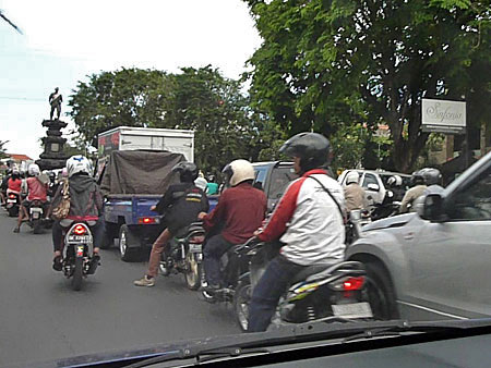 Would you care for a little traffic jam with that toast? Denpasar, Bali, Indonesia.