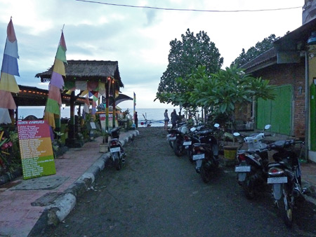 A seashore-bound alley in Lovina, Bali, Indonesia.