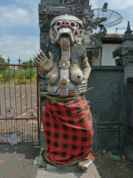 The other side of a Balinese Hindu split gate near the beach in Lovina, Bali, Indonesia.