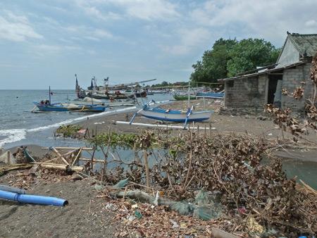 Some flotsam on the beach in Lovina, Bali, Indonesia.