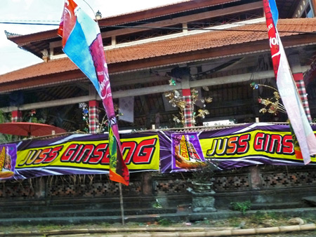 Some Juss Ginseng banners en route to Ubud, Bali, Indonesia.