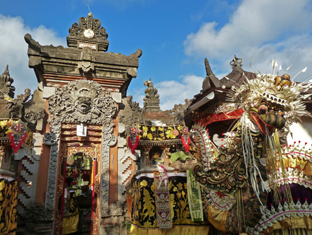 A family compound gate all dolled up for a ceremony in Peliatan, Bali, Indonesia.