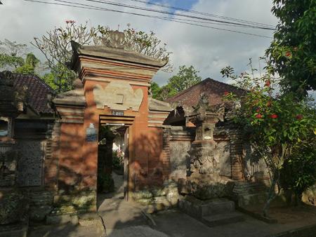 A family compound gate in Peliatan, Bali, Indonesia.