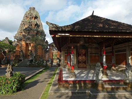 Pura Agung Peliatan at sunset in Peliatan, Bali, Indonesia.
